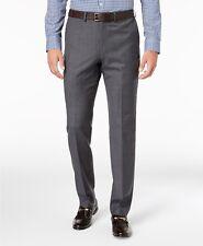 $380 DKNY Men's SLIM FIT GRAY WOOL TROUSERS TIC NEAT STRETCH SUIT PANTS 31W 25L