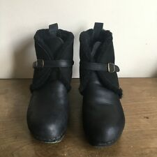 No.6 Store Clogs Ankle Booties Shearling FurWool 8.5 Leather Black Buckles 40