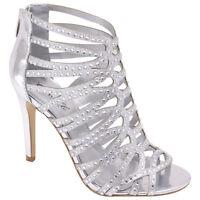 women's delicacy silver strappy prom wedding dress sandal