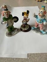Vintage Porcelain Circus Clowns Figures by Shiah Yih Taiwan Set of 3