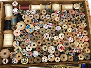 Antique sewing thread wooden spools Coats & Clark  Sears over 100 spools