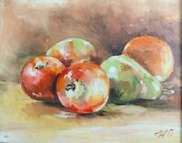 "Apple original oil painting a day, still life signed, framed, fruit 8""x10"", 2020"