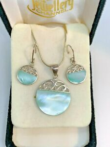 925 silver Abalone shell necklace and earring set scrap or wear