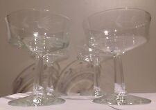 Vintage Stemmed Crystal Dessert  Sherbert Glasses with etched flowers Set of 4