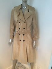 Christian Dior Beige Suede Leather Double Breasted Trench Coat Size 6 Belted