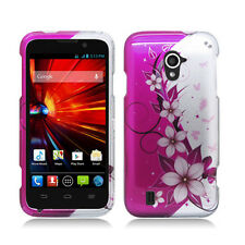 For ZTE Majesty 796C HARD Protector Case Snap On Phone Cover Pink Silver Vines