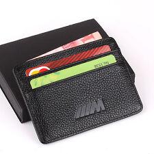 BMW M Slim Mini Wallet 100% Genuine Cow Leather Credit Card Case Men Holder Car