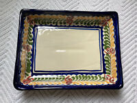 "Mexican Pottery Platter Serving Dish Hand Painted 9.5""x7"" Rectangle EUC"