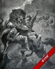 VIKING GOD ODIN ON HORSE FIGHTS MYTH WOLF FENRIR PAINTING REAL CANVAS ART PRINT