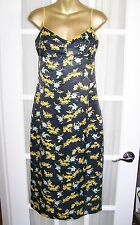 Sexy KOOKAI navy blue w/ yellow flowers summer dress Made in France Size 38 EU