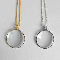 Unique Monocle Lens Necklace 5 x Magnifier Coin Magnifying Glass Pendant—LE