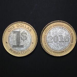 Zimbabwe 1 Dollar coin, 2016, Currency Bond Coin Dollar Bimetal, UNC, Original