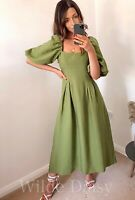 ZARA NEW GREEN LONG DRESS PUFF SLEEVES ELASTIC SQUARE NECK FLOWING SIZE XS-XXL
