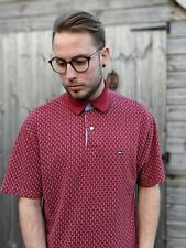 Tommy Hilfiger M Red Polo Shirt Men's Spellout All Over Print Short Sleeve Flag