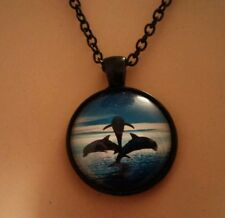 DOLPHINS TRIO JUMPING IN THE OCEAN CABOCHON GLASS BLACK PENDANT NECKLACE NEW