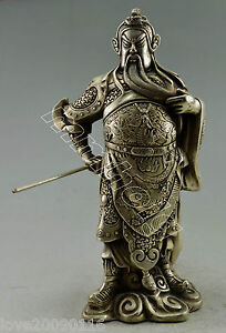 Collectible Old Miao Silver Guan Yu Warrior God Hold Dragon Broadsword Statue