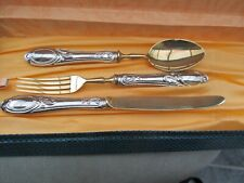 More details for solid silver 800, gilded and boxed child's cutlery set by soligen
