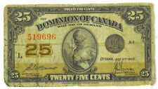 Dominion of Canada 1923 25 Cents Shinplaster McCavour-Saunders VG