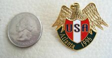 New listing Atlanta 1986 Olympic Pin, Usa Gold Eagle With Shield - vintage, pin, badge