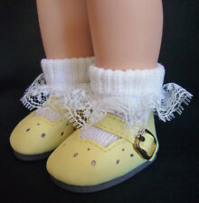 """Doll Clothes fits American Girl 14"""" Wellie Wisher Yellow Mary Jane Shoes & Socks"""