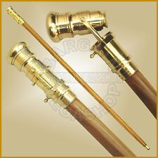 New Wooden Nautical Walking Stick Cane Brass Telescope On Handle Full Long Size