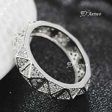 18K WHITE GOLD GF MADE WITH SWAROVSKI CRYSTAL FASHION DRESS RING SPECIAL DESIGN