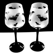 Bat gift Wine Glasses black stem  Boxed