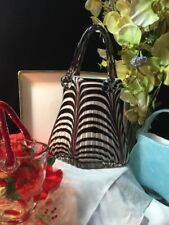 "Murano Style Large 14"" T  Art Glass Handbag White w/ Purple Brown Lines Scallops"