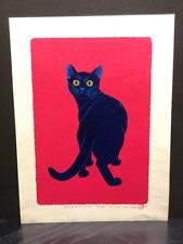 "TADASHIGE NISHIDA ""Look Back (A Cat in Red)"" Japanese Print"