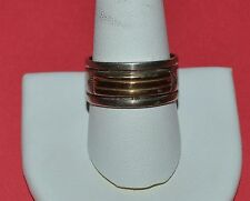 RARE MM ROGERS JULIUS YAZZIE STERLING SILVER AND 14 K GOLD BAND RING SIZE 10