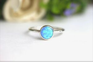 Blue Opal Ring 925 Simple Stacking Ring Handmade ANY SIZE