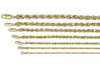 """Real 10K Yellow Gold 2mm-7mm Diamond Cut Rope Chain Pendant Necklace 16""""- 32"""""""