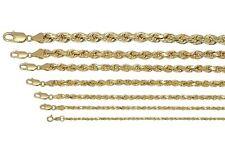 "Real Oro Amarillo 10K 2mm-7mm Diamante Corte Soga Cadena Collar Colgante 16"" - 32"""