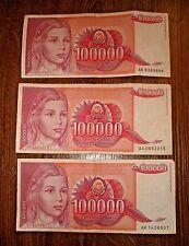 Yugoslavia Lot 3 banknotes of 1 100,000 DINARA 1989