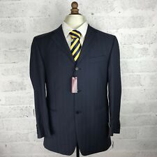 Mens Van Kollem Navy 100% Wool Suit Stripe BNWT RRP £379 40R Chest 34W