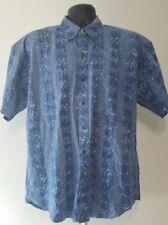 Vintage Chaps Ralph Lauren Button Front Shirt Men's Size Large S/S Blue Splatter