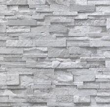 3D Effect Brick Slate Stone Wallpaper Grey Granite Sandstone Textured Realistic