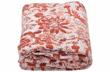 Bird Print Indian Kantha Quilt Queen Cotton Throw Blanket Bohemian Bedspread