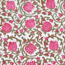 Hand Block Floral Print Cotton Running Sanganeri Dress Sewing Fabric 5 Yard IDZ