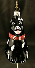 Patricia Breen Christmas Ornament 1996 Black Laughing Dog Pink Nose Ears #9409
