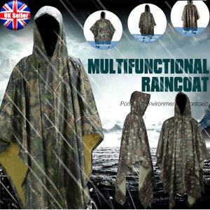 Easy Take Waterproof Army Hooded Ripstop Raincoat Poncho Military Camping Huting