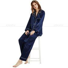 Gifts Womens Silk Satin Pajamas Pajama Sleepwear Set Loungewear S 3xl 4. Navy Blue M