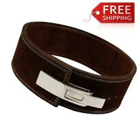 Weight Power Lifting Leather Lever Pro Belt Gym Training Powerlifting BROWN