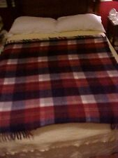 VINTAGE FARIBO BLANKET, Maroon, Grey and BLUE PLAID FARIBAULT, MINN
