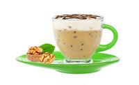 Cappuccino Tasse 230ml mit grünem Henkel und Unterteller Kaffeetasse Teetasse