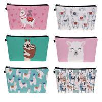 Sloth Llama Pattern Cute Cosmetic Pouch Travel Ladies Women Storage Makeup Bag