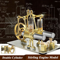 2 Double Cylinder Hot Air Stirling Engine Motor Model Physics Steam Power Toy