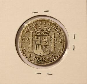 1870 2 Pesetas Spain - KM 654 - silver #2 - nice coin