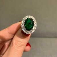 2.40Ct Oval Cut Green Emerald Diamond Halo Engagement Ring 14K White Gold Finish