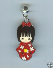Geisha, Japanese GIRL, Red Kimono Charm, Bead fits European Charm Bracelet - F28